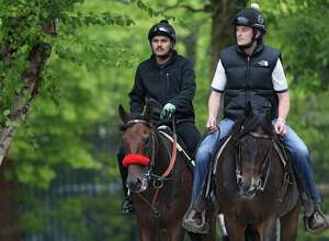 Kentucky Derby winner Nyquist (right) is walked by exercise rider Jonny Garcia on back to the barn with an outrider (right) during a training session for the 141st running of the Preakness Stakes at Pimlico Race Course on on May 18, 2016 in Baltimore, Maryland. (Photo by Patrick Smith/Getty Images)