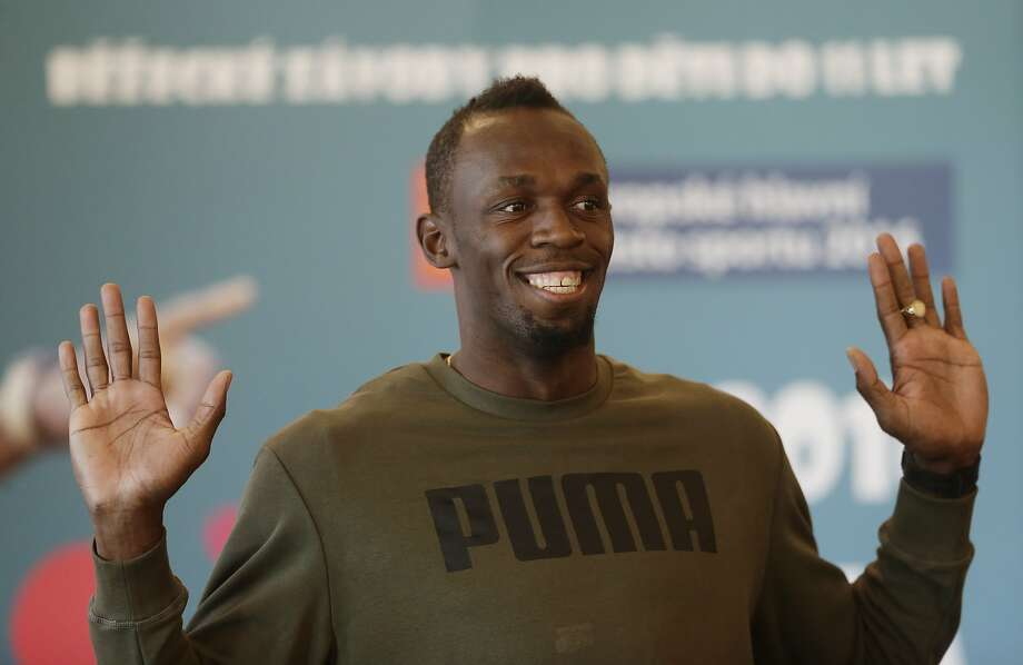 Jamaica's sprinter Usain Bolt gestures during a press conference in Prague, Czech Republic, Wednesday, May 18, 2016. Bolt arrived to the Czech Republic to attend a Golden Spike meeting in Ostrava on Friday, May 20, 2016. (AP Photo/Petr David Josek) Photo: Petr David Josek, Associated Press