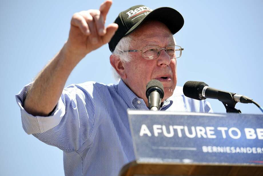 Democratic presidential hopeful Bernie Sanders speaks to the crowd during a rally at the Santa Clara County Fairgrounds in San Jose, CA Wednesday, May 18th, 2016. Photo: Michael Short, Special To The Chronicle