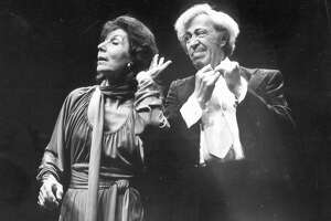 [20021025 (LA/B14,VN/B14,OC/B12,SF/B14) -- ADOLPH GREEN The writer and his creative partner, Betty Comden, shown at the Westwood Playhouse in 1978, won seven Tony Awards. -- PHOTOGRAPHER: Los Angeles Times] *** [Musical comedy specialists Betty Comden and Adolph Green perform at the Westwood Playhouse in 1978 photo. ForComden Obit.]