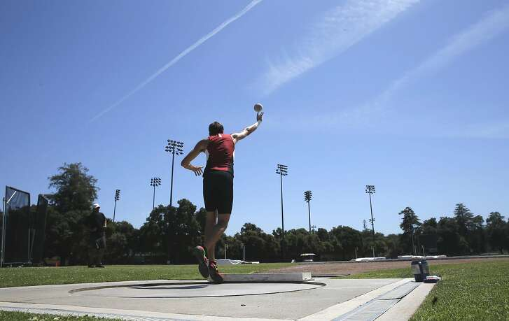 Stanford University sophomore Harris Williams a rising star in the decathlon trains at Cobb Track in Stanford, California, on Wed. May 18, 2016.