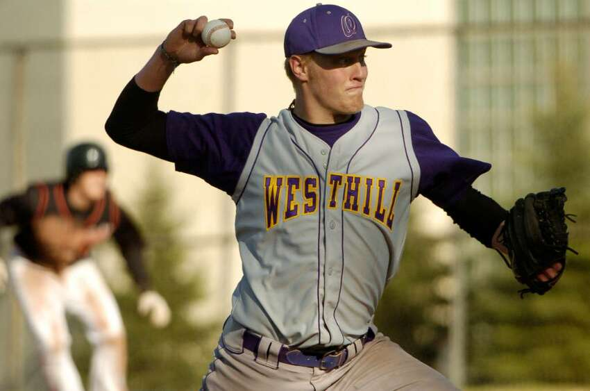 Morgan Williams pitches for Westhill at the Ridgefield @ Westhill baseball game in Stamford, Conn. on Monday April 19, 2010.
