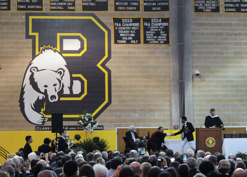 The Brunswick School commencement at the school in Greenwich, Conn., Wednesday, May 18, 2016. Educator, author, activist and former National Football League player Joe Ehrmann was the commencement speaker.