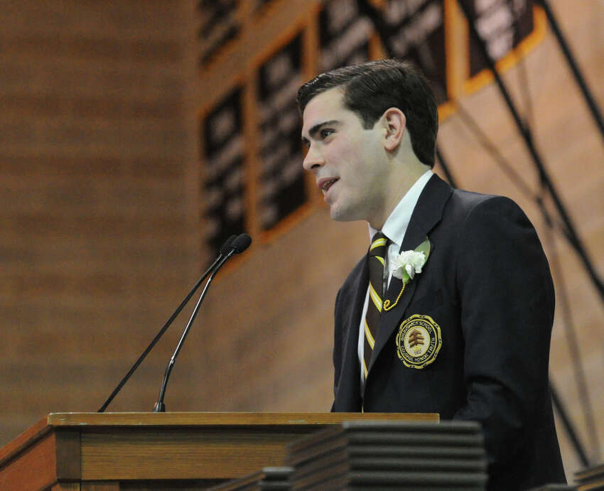 Andrew Israel, the Brunswick School valedictorian, speaks during the commencement at the school in Greenwich, Conn., Wednesday, May 18, 2016. Educator, author, activist and former National Football League player Joe Ehrmann was the commencement speaker.