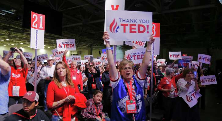 Delegates cheer as Sen. Ted Cruz speaks at the Republican Party of Texas state convention at the Kay Bailey Hutchison Convention Center in Dallas on Saturday. (Rodger Mallison / Fort Worth Star-Telegram)