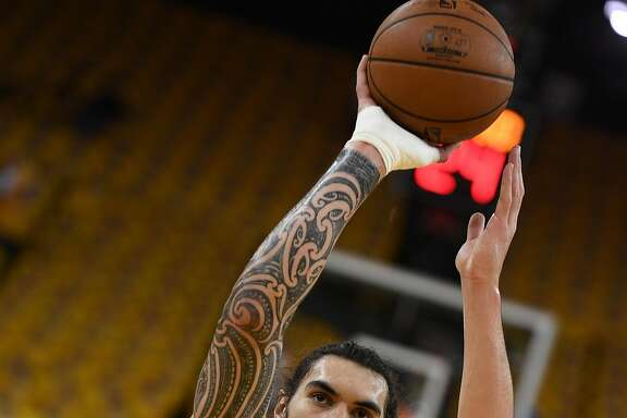 OAKLAND, CA - MAY 18:  Steven Adams #12 of the Oklahoma City Thunder warms up prior to game two of the Western Conference Finals during the 2016 NBA Playoffs at ORACLE Arena on May 18, 2016 in Oakland, California. NOTE TO USER: User expressly acknowledges and agrees that, by downloading and or using this photograph, User is consenting to the terms and conditions of the Getty Images License Agreement.  (Photo by Thearon W. Henderson/Getty Images)