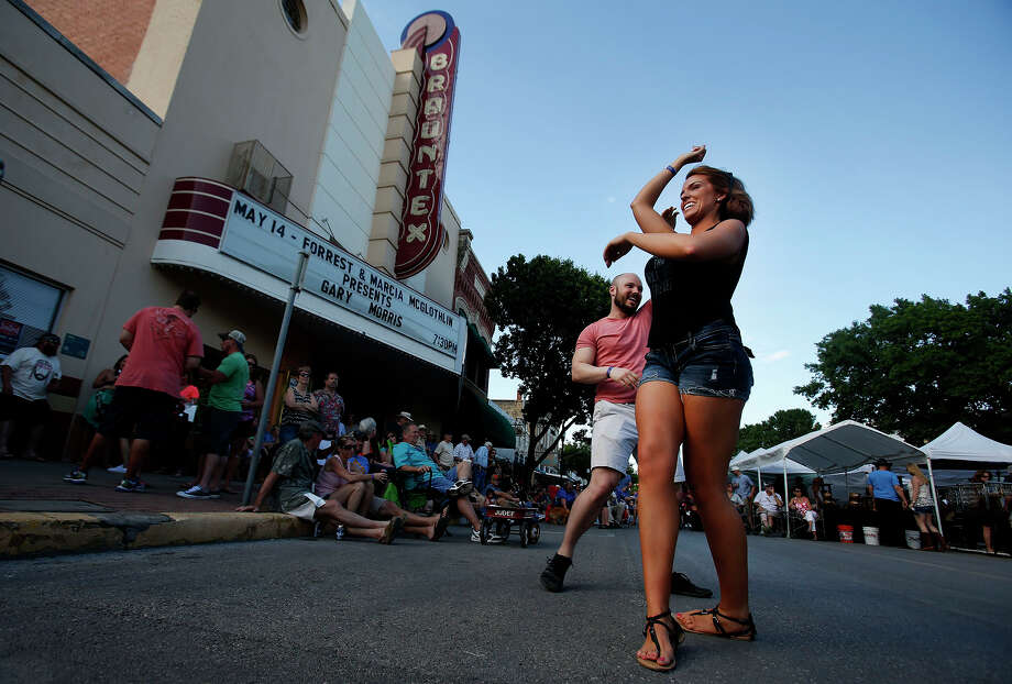 Melissa Chapman and James Roysdon of Washington state dance during the annual Wein & Saengerfest in New Braunfels. Photo: Stephen Spillman / For The San Antonio Express-News