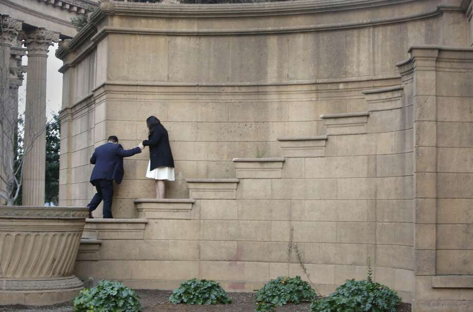 What appear to be steps at San Francisco's picturesque Palace of Fine Arts are really planters. Photo: Lea Suzuki, The Chronicle