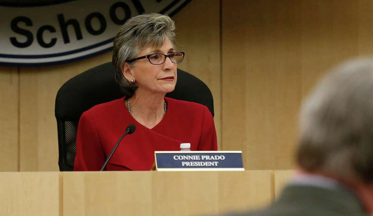 This file photo shows South San Independent School District board president Connie Prado attending a board meeting. the board is spending tens of thousands of dollars finding fault with the conservator appointed to oversee the district's operations. That is money that could best be spent in the classroom.