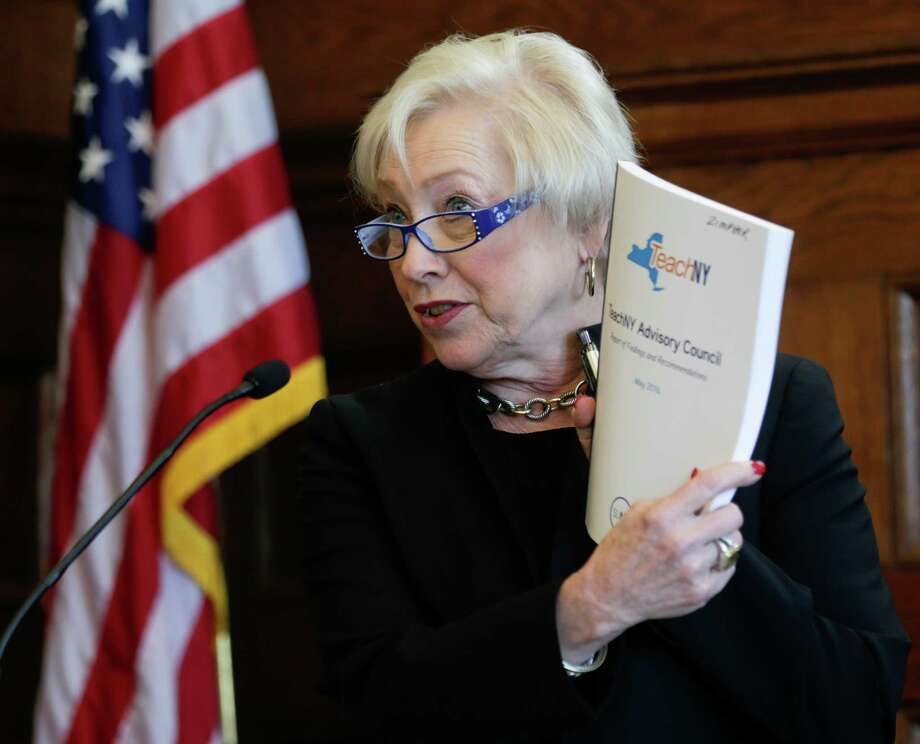 State University of New York Chancellor Nancy Zimpher speaks during a TeachNY news conference on Wednesday, May 18, 2016, in Albany, N.Y. A collaboration of the State Education Department and SUNY aims to improve teacher training and address teacher shortages across New York. (AP Photo/Mike Groll) ORG XMIT: NYMG102 Photo: Mike Groll / Copyright 2016 The Associated Press. All rights reserved. This m