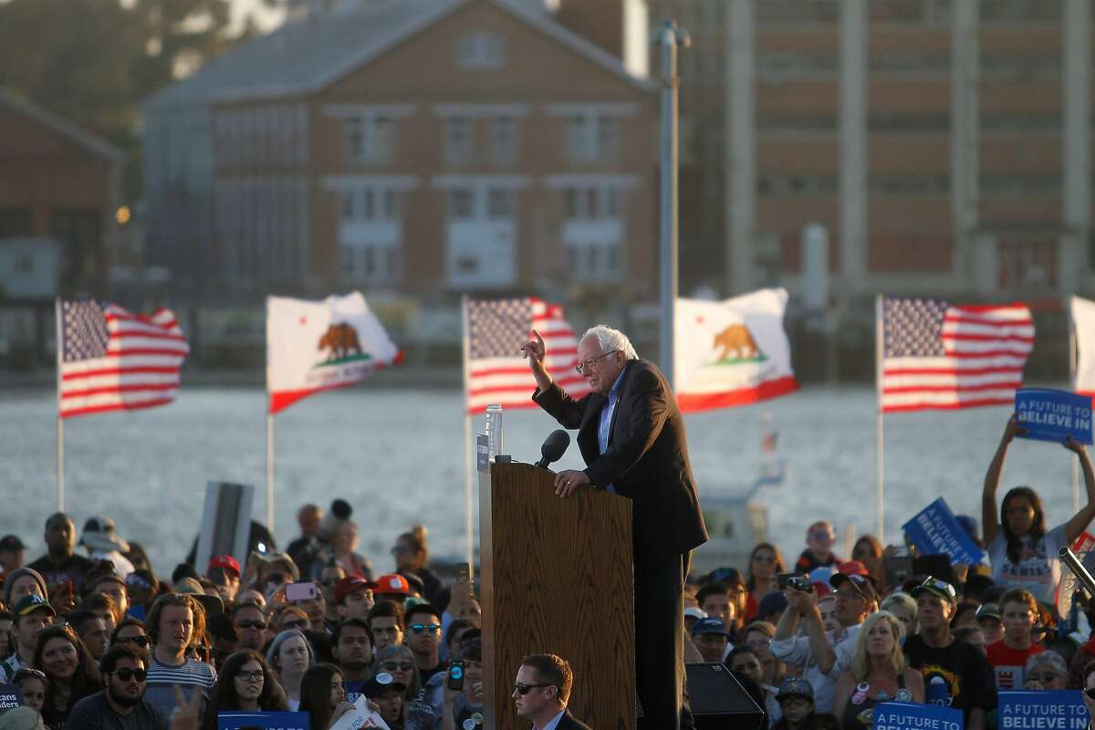 Bernie Sanders speaks during a campaign rally for Democratic presidential candidate Bernie Sanders on Wednesday, May 18, 2016 in Vallejo, Calif.