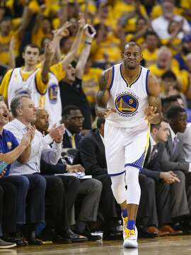 Golden State Warriors� Andre Iguodala reacts after hitting a fourth quarter three pointer during Game 2 of the NBA Western Conference Finals at Oracle Arena on Wednesday, May 18, 2016 in Oakland, Calif.