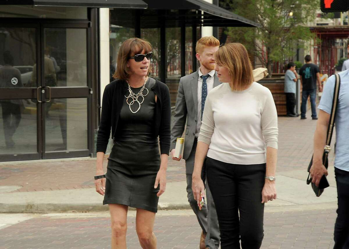 Former New York City Transportation Commissioner Janette Sadik-Khan,at left, is given a tour of downtown by Angie Bertinot of the Houston Downtown Management District Wednesday May 18,2016(Dave Rossman Photo)