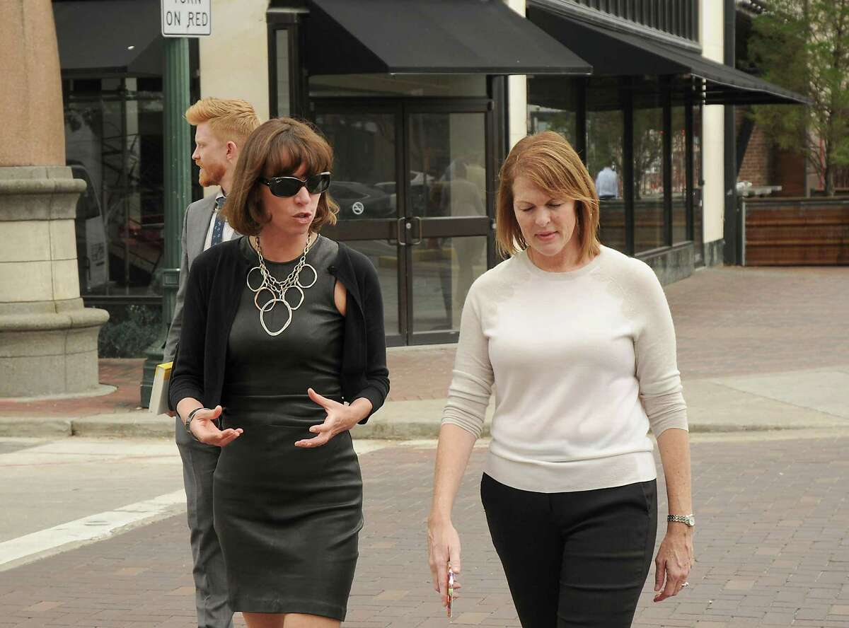 Former New York City Transportation Commissioner Janette Sadik-Khan, left, is given a tour of downtown by Angie Bertinot of the Houston Downtown Management District on May 18.