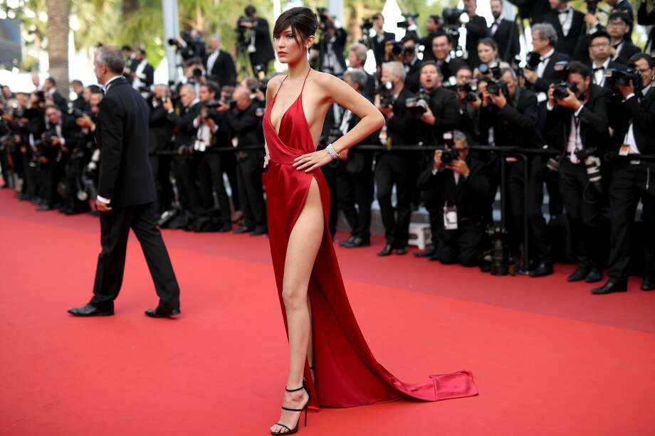 The corps of photographers at the Cannes Film Festival is used to seeing a lot of skin. As far back as the 1960s, unknown starlets tried to shortcut their way to fame by frolicking topless before the army of shutters. But model Bella Hadid's trip down the red carpet on Wednesday, May 18, 2016, was on a completely different level. Photo: Getty Images