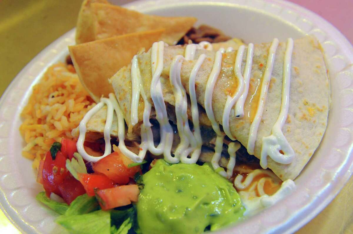 A pork quesadilla from Magdalens's at the Troy Kitchen. (Michael P. Farrell/Times Union)