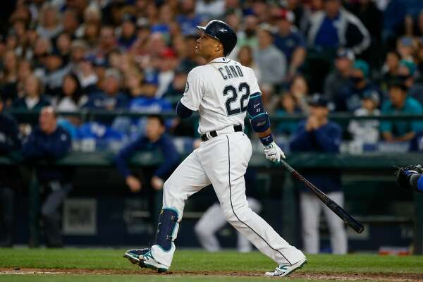 SEATTLE, WA - APRIL 30:  Robinson Cano #22 of the Seattle Mariners bats against the Kansas City Royals at Safeco Field on April 30, 2016 in Seattle, Washington.  (Photo by Otto Greule Jr/Getty Images)