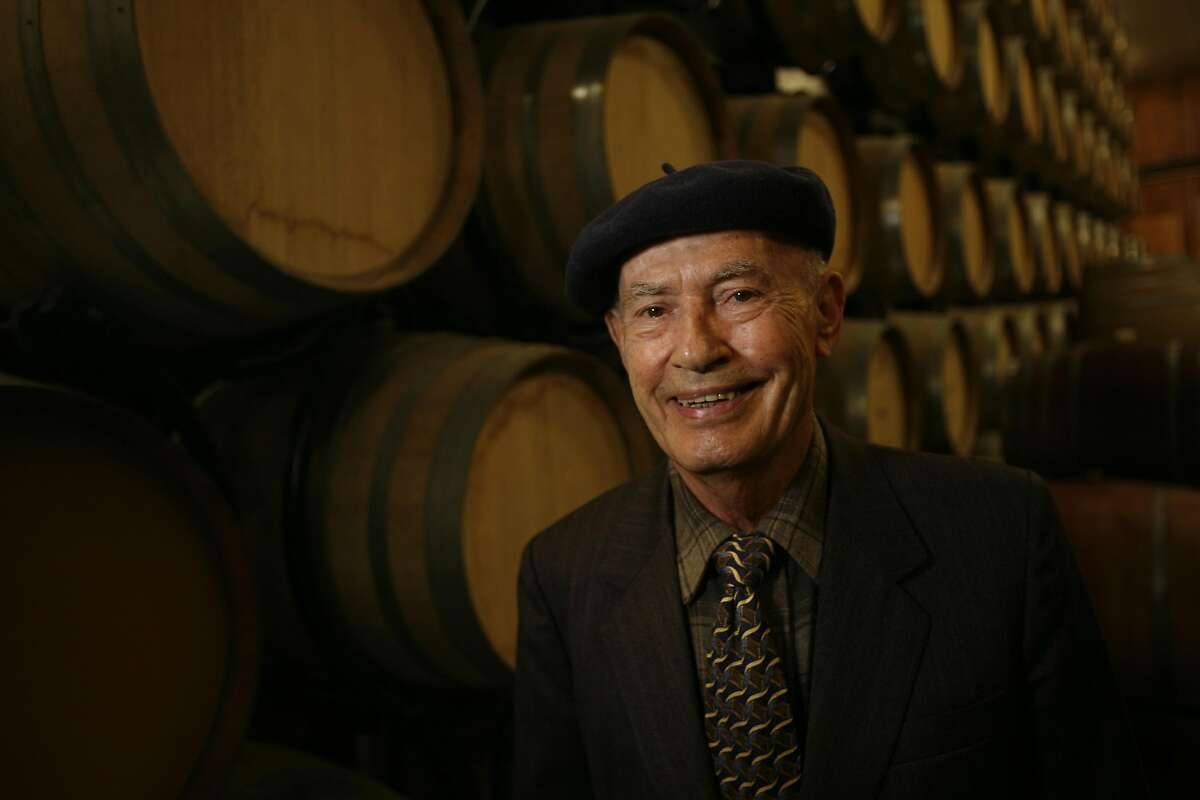 GRGICH18_055_cl.JPG Story profile of Mike Grgich, owner and winemaker of Grgich Hills Cellar. Photo of Mike in the barrel room. Mike is 84 years-old and one of his favorite things to do at the winery now is to meet the Wine Train when it arrives, usually at 1 p.m. The winery will be celebrating it's 30th anniversary this year in July. Event on 4/26/07 in Napa. photo by Craig Lee / The Chronicle