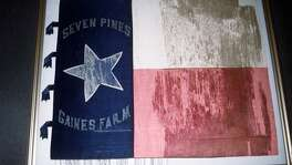 This flag, which was used by the First Texas Infantry, Hood's Brigade, during the Civil War, was one of nine historic flags from the Texas Revolution and Civil War restored for display in the state archives.  John Bell Hood  shot up the ranks in the Confederate Army after distinguishing himself in several major battles. He briefly led a brigade in Robert E. Lee's Army of Northern Virginia that came to take on his name — Hood's Brigade — which included the greatest concentration of Texas troops who fought in the Eastern Theater.