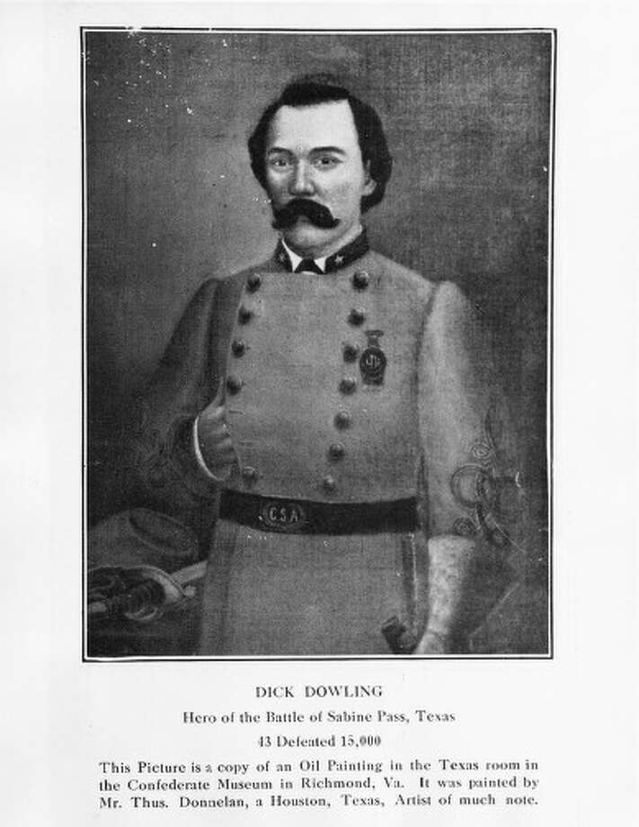 """At the time of his death from yellow fever in 1867, the """"Houston Telegraph"""" considered him """"Houston's most important citizen."""" Among his accomplishments he was a sound businessman, member of Houston's first fire department, bought and sold real estate, and helped found the first oil company in Houston. (Rice) This picture is a copy of an oil painting in the Texas room in the Confederate Museum in Richmond, VA. It was painted by Mr. Thus Donnela, a Houston, Texas artist of much note. The subject is Dick Dowling, Hero of the Battle of Sabine Pass. Photo: Rice University Courtesy Of Spec / Rice University courtesy of Spec"""
