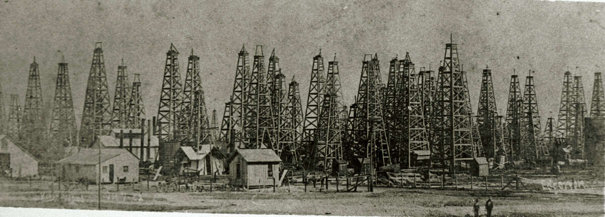 Derricks in landscape view Spindletop Oil Field. TEXAS ENERGY MUSEUM SPECIAL TO THE EXPRESS-NEWS