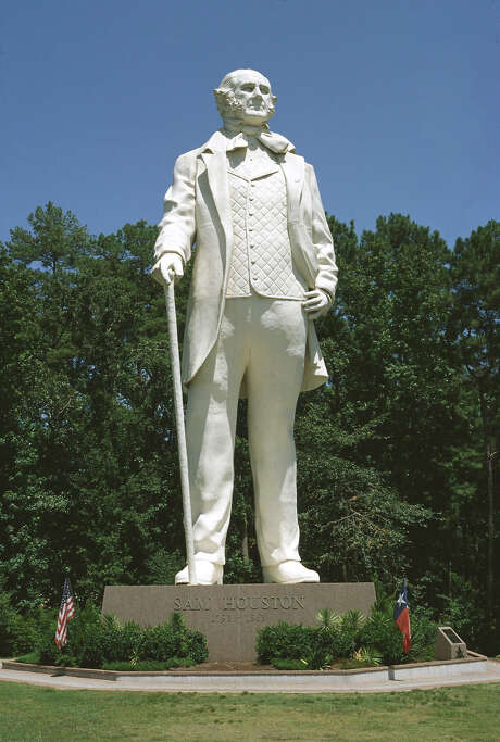 Then: Sam Houston, hero of the Texas Revolution and our city's namesake. (Seen here at his statue in Huntsville.)