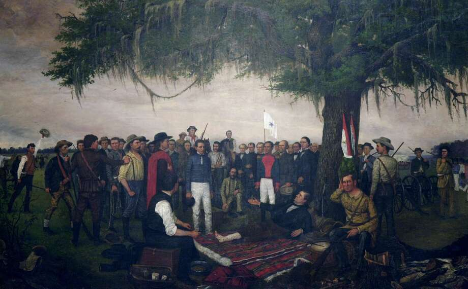 "The painting by William H. Huddle, ""The Surrender of Santa Anna,"" depicting the morning of April 27, 1836, is shown Thursday, April 18, 2002, in Austin, Texas. The painting has been displayed in the Texas Capitol since February 1891. The Mexican General is shown in the uniform of a private soldier. San Houston is shown on a pallet under an oak tree, his right leg bandaged. (AP Photo/Harry Cabluck) Photo: HARRY CABLUCK, STF / AP"