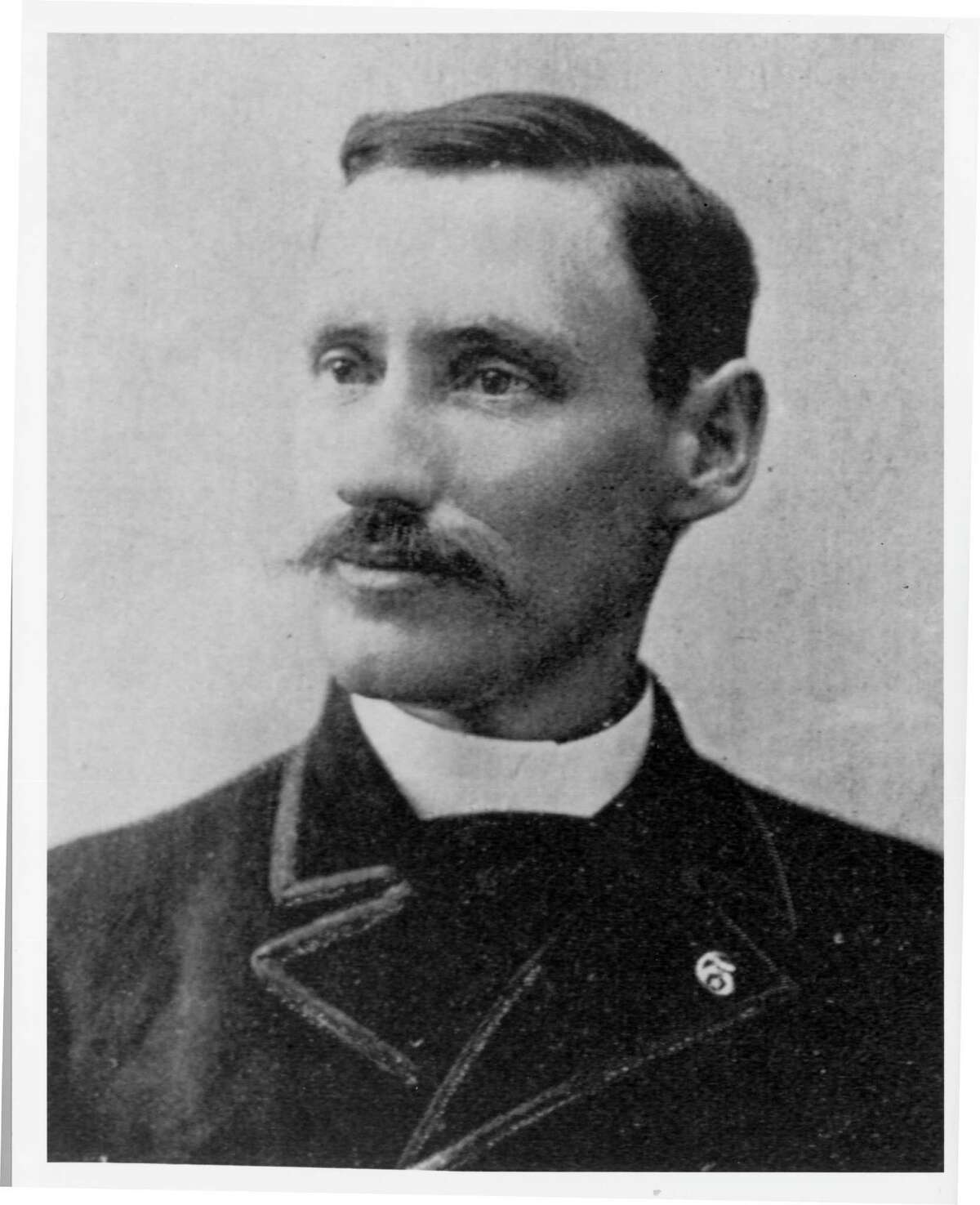 A recently discovered portrait of Isaac Cline, Galveston chief U.S. Bureau Meterologist circa 1900. Cline thought Galveston could withstand a hurricane and the shallow waters along the beach would absorb much of the impact. Cline lost his wife when the water swept away his home. CREDIT: Rosenberg Library, Galveston, Tx.