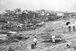 ADVANCE FOR SUNDAY AUG. 27--FILE--A large part of the city of Galveston, Texas was reduced to rubble, as shown in this September, 1900 file photo, after being hit by a surprise hurricane Sept. 8, 1900. More than 6,000 people were killed and 10,000 left homeless from the Great Storm. (AP Photo/File)