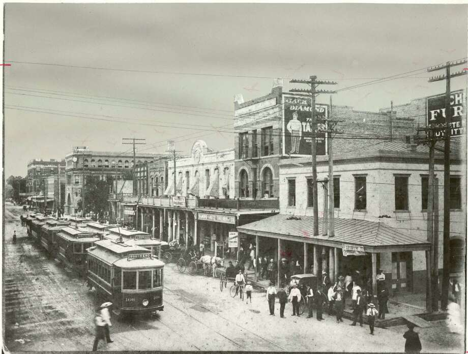 The photograph, made in the 1890s, depicts the heart of the business district near the intersection of Main and Preston. / HOUSTON CHRONICLE