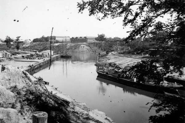 Houston Ship Channel, circa 1887.  S. L Allen & Co (CENTER BACKGROUND)