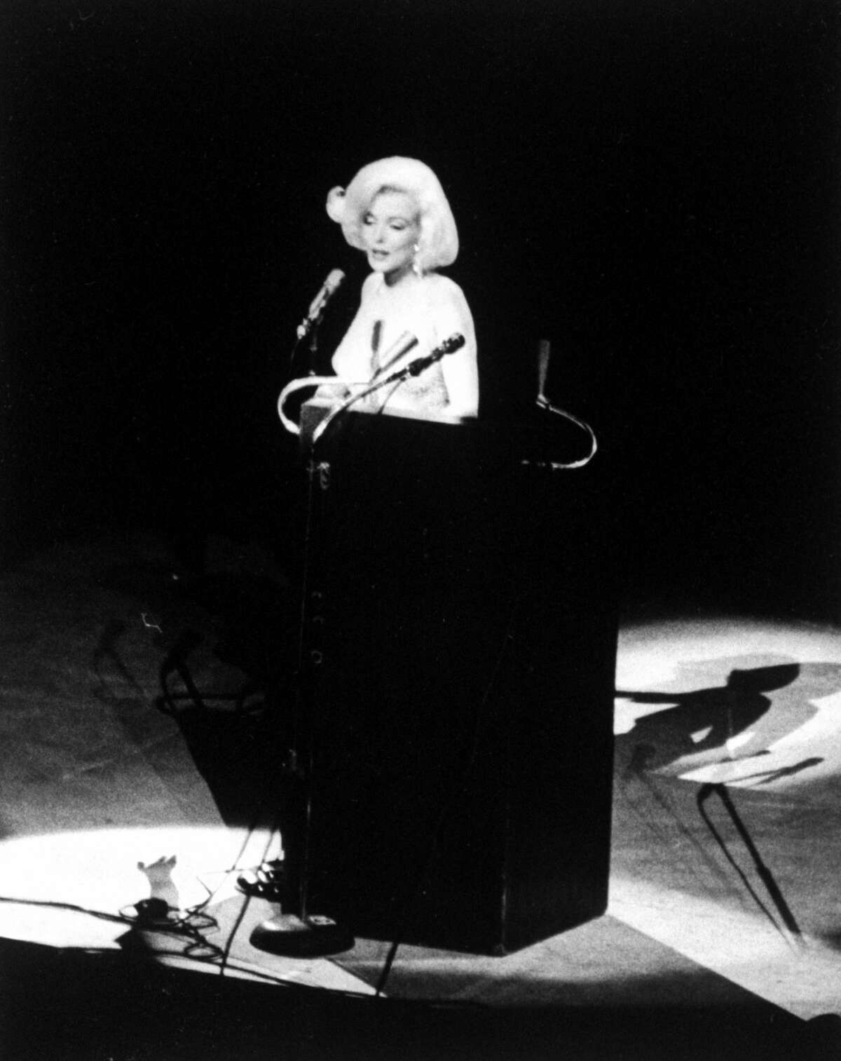 Actress Marilyn Monroe singing Happy Birthday at the Democratic rally for President John F. Kennedy's birthday. (Photo by Yale Joel/The LIFE Picture Collection/Getty Images)