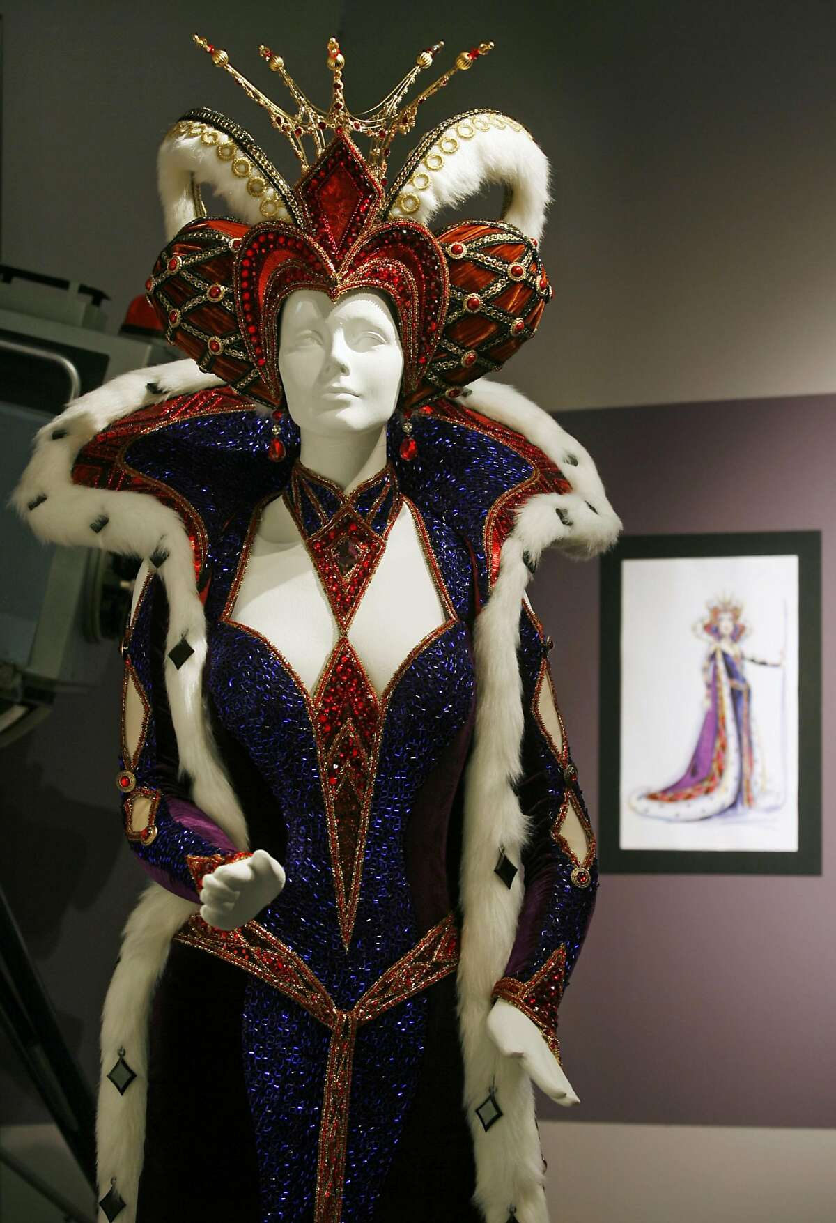 """Carol Burnett's costume, designed by Bob Mackie for the 2005 television special """"Once Upon a Mattress,"""" is on display at the Fashion Institute Of Design & Merchandising in Los Angeles, Wednesday, Aug. 2, 2006. Mackie was among those nominated for a costume design movie Emmy award for his work on the movie. Winning duds in the series costumes category as well as its movie and mini-series counterpart will be announced Aug. 19, when the creative arts Emmys are presented at the Shrine Auditorium in Los Angeles. (AP Photo/Damian Dovarganes) Ran on: 08-14-2006 Carol Burnetts costume, designed by Bob Mackie for the 2005 TV special Once Upon a Mattress, is on display in Los Angeles."""
