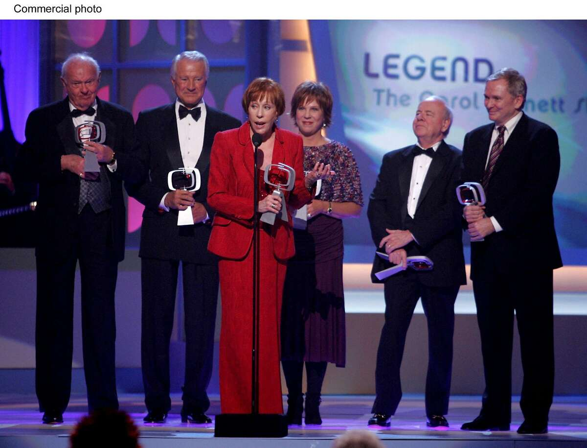 The cast of the Carol Burnett Show (Carol Burnett, Tim Conway, Harvey Korman, Vicki Lawrence, Lyle Waggoner) and designer Bob Mackie accept the Legend Award at the third annual TV Land Awards. Show taped at The Barker Hangar in Santa Monica, CA tonight and will air on Wed. March 16 on TV Land and simulcast on Nick at Nite. (PRNewsFoto)