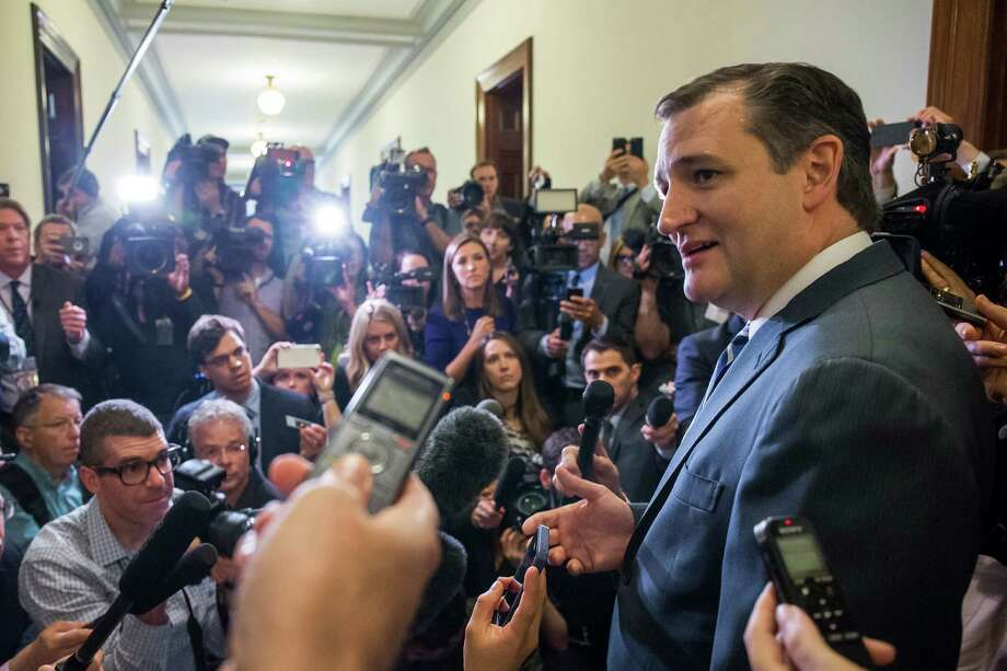 Sen. Ted Cruz (R-Texas), back on Capitol Hill after suspending his presidential primary campaign, speaks to reporters in Washington, May 10, 2016. In his first interview since leaving the Republican presidential race last week, Cruz declined to throw his support behind Trump. (Zach Gibson/The New York Times) Photo: ZACH GIBSON, STF / NYT / NYTNS