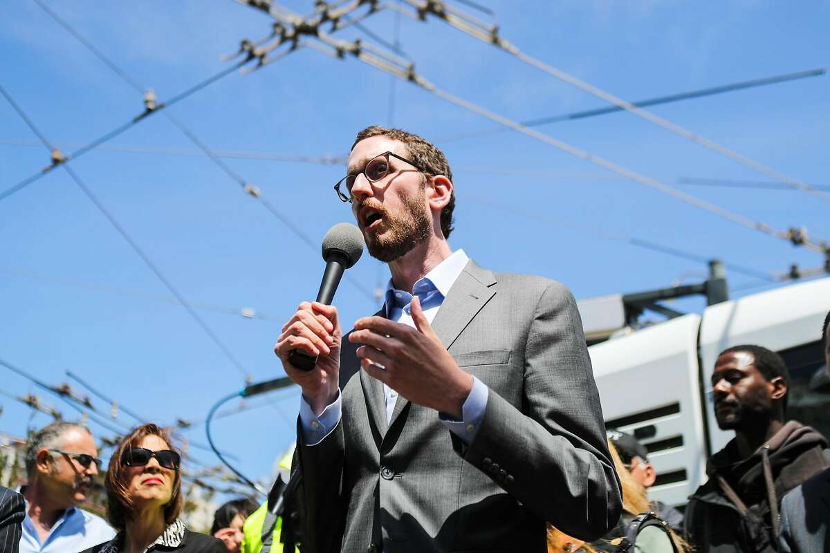 Supervisor Scott Wiener speaks about the new initiatives to keep the city clean through a group of fix-it teams, who will serve individual neighborhoods, at a press conference in San Francisco, California, on Thursday, May 19, 2016.