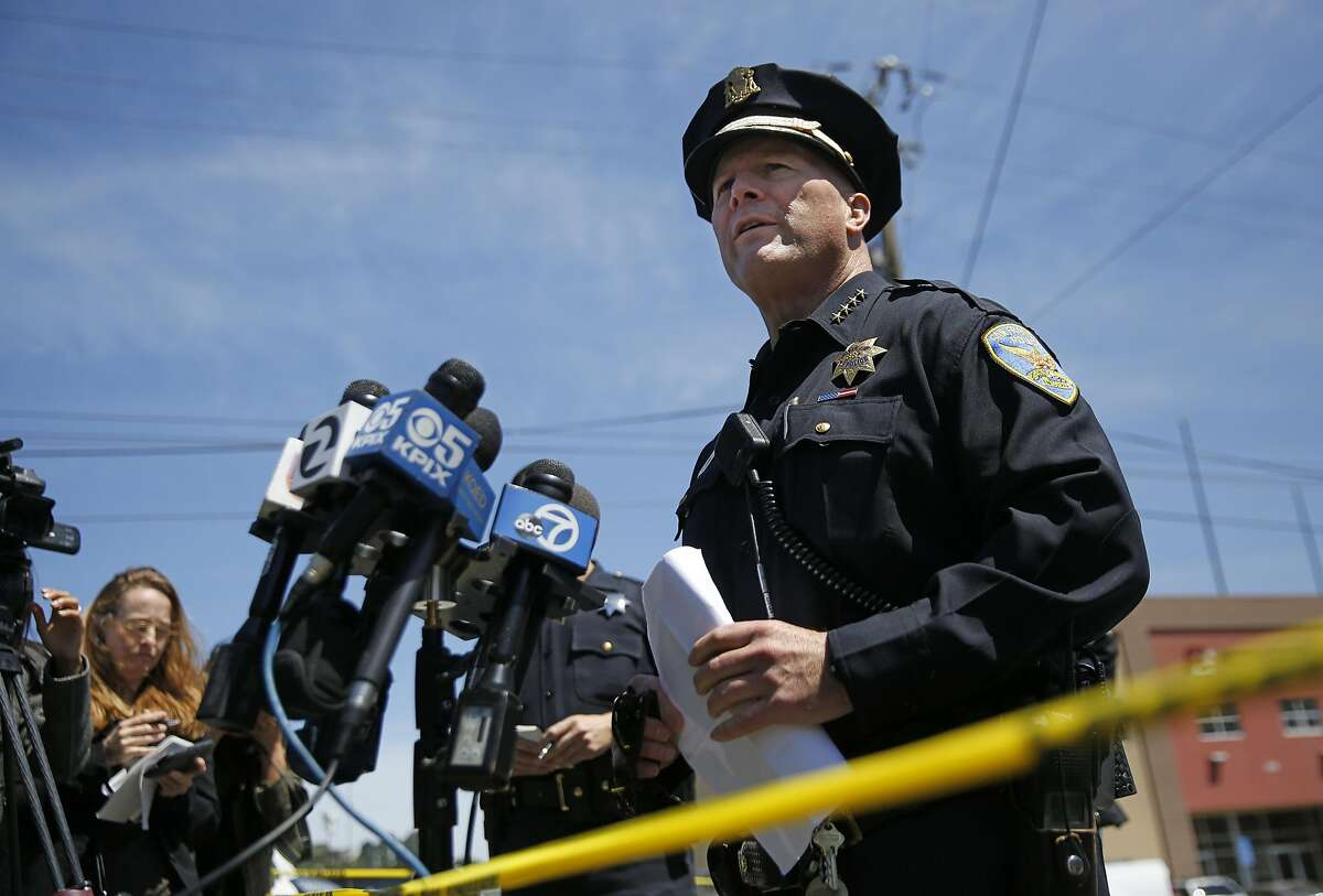 San Francisco Police Chief Greg Suhr resigned Thursday. He is seen at a press conference earlier Thursday about an officer involved shooting that ended in the death of a 27-year-old woman.