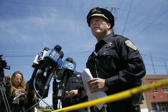 San Francisco Police Chief Greg Suhr holds a press conference to tell media about an officer involved shooting near the scene of the shooting on Elmira Street that ended in the death of the woman who was shot   May 19, 2016 in San Francisco, Calif. Police officers began pursuing a car that came up as stolen in their system and after the woman crashed the car into a parked vehicle, she was shot once while officers tried to remove her from the car and she died from the gunshot wound.