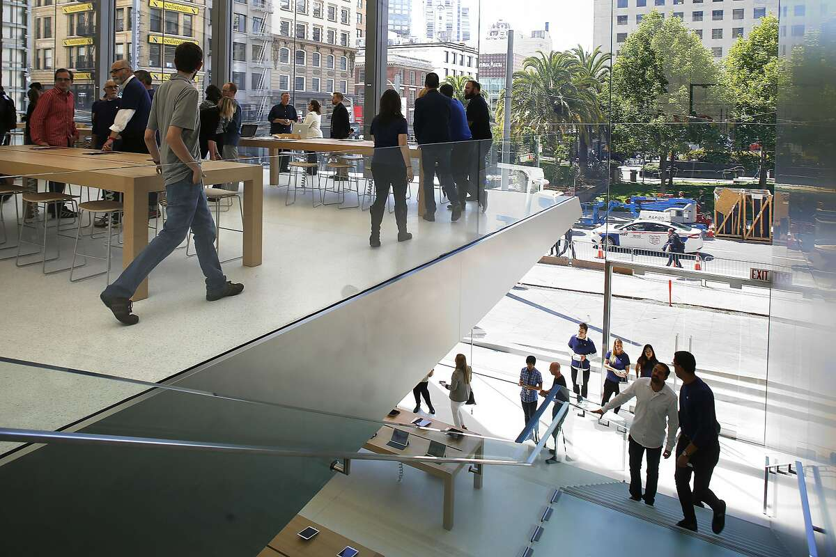 The new Apple building on Post at Stockton streets has a media tour in San Francisco, California, on thursday, may 19, 2016.