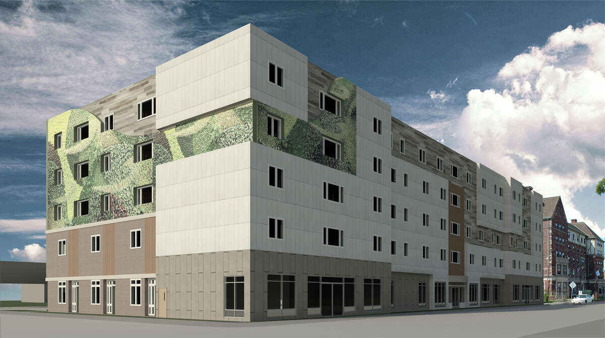 A rendering of a proposed five-story mixed-use building at 601-611 State Street in Bridgeport. Nonprofit Bridgeport Neighborhood Trust plans to build 55 units of housing and 12,000 square feet of commercial space on the empty lot.