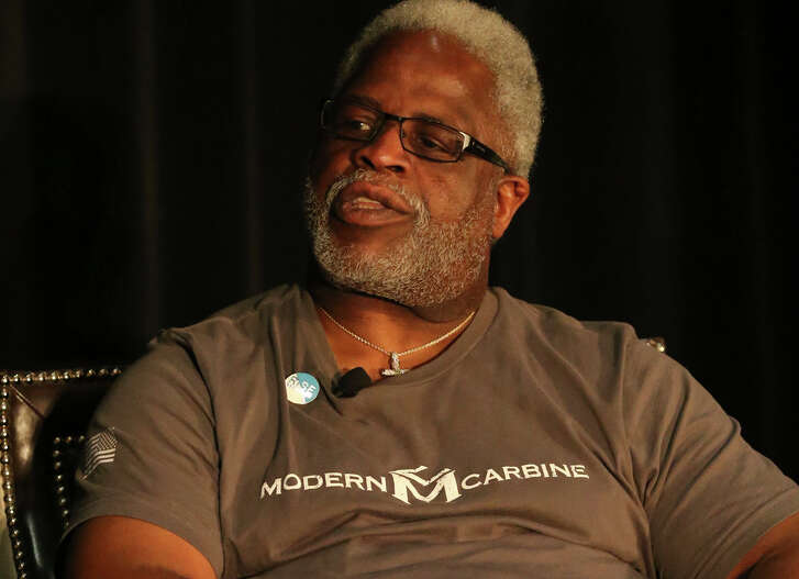 Former UT and Oilers star running back Earl Campbell speaks Thursday at the Rise REcovery Campaign Breakfast at the Omni Hotel at the Colonnade.