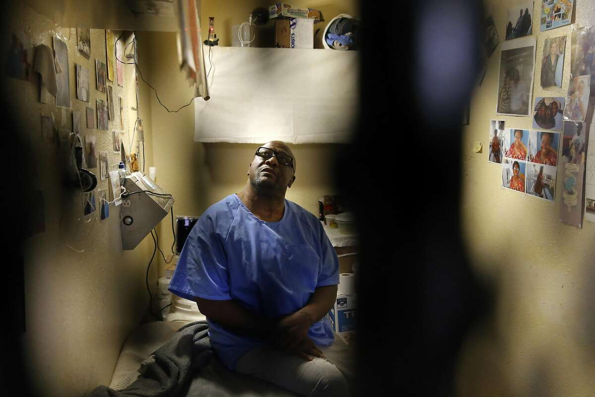 Raymond Lewis, on death row for a 2000 murder is seen inside his cell during a tour of East Block of death row at San Quentin State Prison on Tuesday December 29, 2015, in San Quentin, Calif.