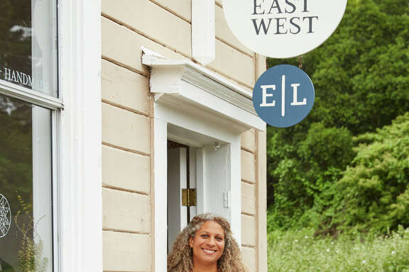 Jennifer Jones stands outside the Edition Local headquarters in West Marin.