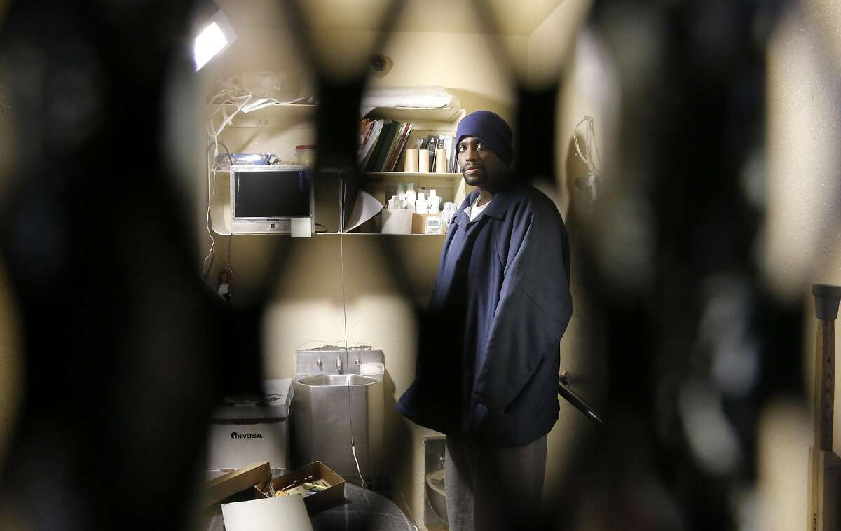 Condemned prisoner Sean Vines is seen inside his cell during a tour of East Block of death row at San Quentin State Prison on Tuesday December 29, 2015, in San Quentin, Calif.