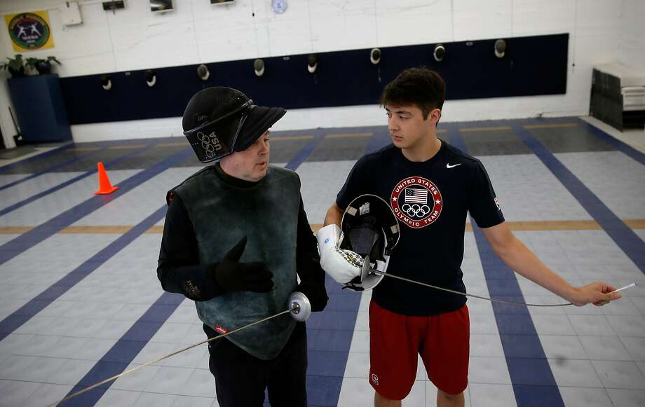 Greg Massialas, (left) and his son Alexander during a practice session at their training facility in San Francisco , California on Thurs. May 19, 2016. Massialas started his fencing program seventeen years ago and now his son Alex is the top-rated fencer in the country. Photo: Michael Macor, The Chronicle
