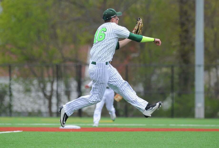 Norwalk infielder Eddie McCabe makes a play on Nathan Hale Middle School's artificial turf field this season. . Photo: Gregory Vasil / For Hearst Connecticut Media / Connecticut Post Freelance