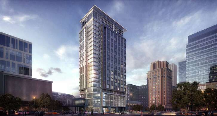 A rendering showing the new design of Hotel Alessandra, a 21-story hotel expected to open in late 2016 at downtown's GreenStreet development.
