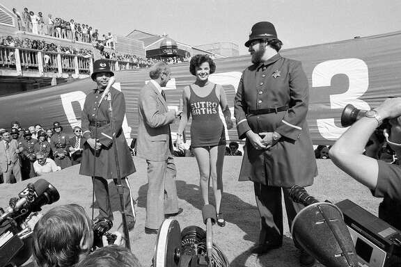 Oct. 4, 1978: Dianne Feinstein poses in a Sutro Baths bathing suit at the opening of Pier 39, after losing a bet that the tourism center would open on time.