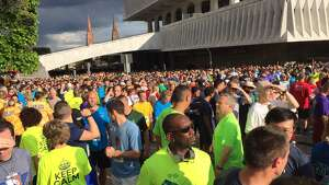 Close to 10,000 participated in running the CDPHP Workforce Challenge Thursday at the Empire State Plaza (Barnabas Kui / Special to the Times Union)