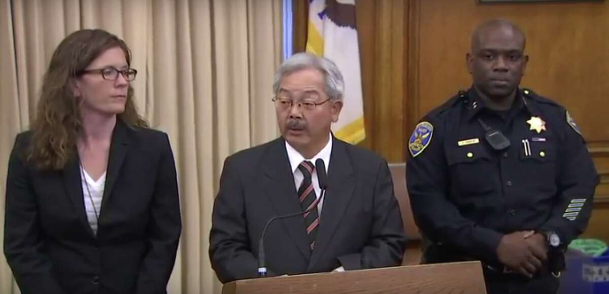 San Francisco Mayor Ed Lee speaks at a press conference and announces the resignation of San Francisco Police Chief Greg Suhr on Thursday, May 19, 2016.